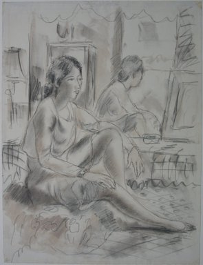 Emil Ganso (American, 1895-1941). Seated Woman, n.d. Chalk and graphite on paper, Sheet: 20 13/16 x 15 3/4 in. (52.9 x 40 cm). Brooklyn Museum, Gift of Dr. Charles Goodsell, 60.54.1