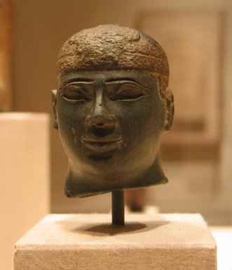Egyptian. Head of a Kushite Ruler, ca. 716-702 B.C.E. Green schist, 2 3/4 x 2 1/16 x 2 9/16 in. (7 x 5.3 x 6.5 cm). Brooklyn Museum, Charles Edwin Wilbour Fund, 60.74. Creative Commons-BY