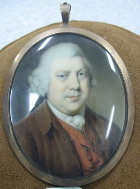 Portrait of Sir Richard Arkwright, n.d. Watercolor on ivory portrait in metal locket with glass lens, Image (sight): 2 3/4 x 2 3/16 in. (7 x 5.6 cm). Brooklyn Museum, Gift of Mrs. William Randolph Hearst, Jr., 61.144.2
