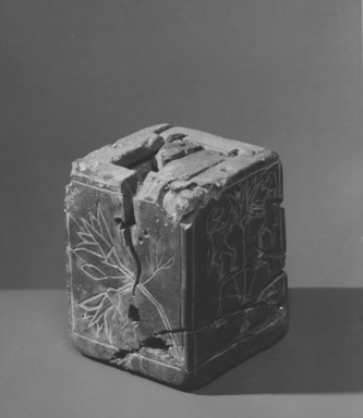 Jewelry Box (?) with Lid, ca. 1539-1425 B.C.E. Wood, bronze, 3 5/8 x 3 3/16 x 3 1/4 in. (9.2 x 8.1 x 8.3 cm). Brooklyn Museum, Charles Edwin Wilbour Fund, 61.19. Creative Commons-BY