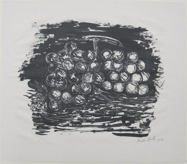 Marsden Hartley (American, 1877-1943). Grapes, 1923. Lithograph in black ink on cream, medium weight, very slightly textured wove paper, Sheet: 13 7/16 x 15 7/16 in. (34.1 x 39.2 cm). Brooklyn Museum, Dick S. Ramsay Fund, 61.4.2. © Estate of Marsden Hartley, Yale University Committee on Intellectual Property