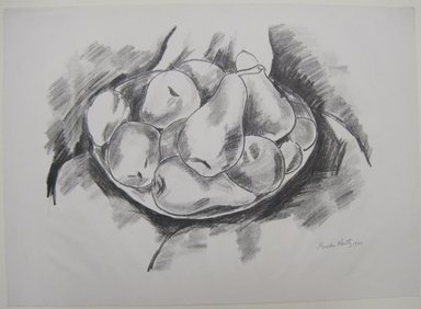 Marsden Hartley (American, 1877-1943). Dish of Apples and Pears, 1923. Lithograph in black ink on off-white, moderately thick, slightly textured machine-made wove paper, Sheet: 15 7/16 x 21 1/2 in. (39.2 x 54.6 cm). Brooklyn Museum, Dick S. Ramsay Fund, 61.4.3. © Estate of Marsden Hartley, Yale University Committee on Intellectual Property