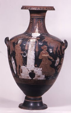 Hydria, 2nd half of 4th century B.C.E. Terracotta, painted, 21 1/16 x Diam. 12 in. (53.5 x 30.5 cm). Brooklyn Museum, Bequest of Mary Olcott in memory of her brother, George N. Olcott, and her grandfather, Charles Mann Olcott, one of the founders of the Brooklyn Institute of Arts and Sciences, 62.147.4. Creative Commons-BY