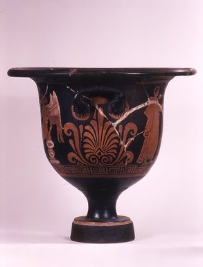 Bell Krater, ca. 330 B.C.E. Pottery, painted, Ht. 38.1 cm., Diam. at rim 12 cm. Brooklyn Museum, Bequest of Mary Olcott in memory of her brother, George N. Olcott, and her grandfather, Charles Mann Olcott, one of the founders of the Brooklyn Institute of Arts and Sciences, 62.147.5. Creative Commons-BY