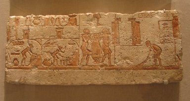 Kitchen Scene, ca. 1352-1336 B.C.E. Limestone, painted, 8 7/16 x 21 1/4 in. (21.5 x 54 cm). Brooklyn Museum, Charles Edwin Wilbour Fund, 62.149. Creative Commons-BY