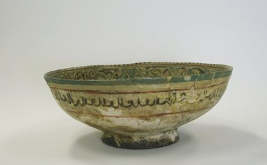 Deep Bowl, 12th-13th century. Ceramic; mina'i ware (enameled) or haft rangi (seven colors) ware; fritware, in-glaze painted in blue, turquoise, and red on an opaque white glaze, overglaze painted in black, 3 3/8 x 8 9/16 in. (8.5 x 21.8 cm). Brooklyn Museum, Gift of Mrs. Joseph M. Schulte, 62.178.1. Creative Commons-BY