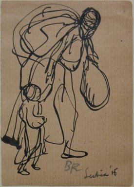 Boardman Robinson (American, 1876-1952). Leaves From a Serbian Sketchbook: Sketch of a Mother and Child, 1915. Pen and black ink on paper, Sheet: 3 11/16 x 2 9/16 in. (9.4 x 6.5 cm). Brooklyn Museum, Gift of Robert de Vries, 62.20.1