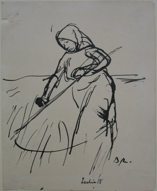 Boardman Robinson (American, 1876-1952). Leaves From a Serbian Sketchbook: Sketch of a Woman with Scythe, 1915. Pen and black ink on paper, Sheet: 5 11/16 x 4 5/8 in. (14.4 x 11.7 cm). Brooklyn Museum, Gift of Robert de Vries, 62.20.2