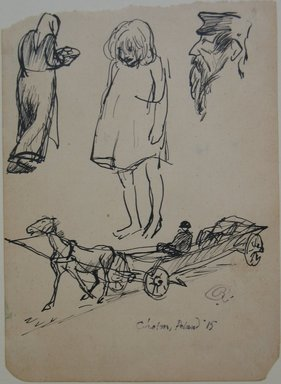 Boardman Robinson (American, 1876-1952). Leaves From a Serbian Sketchbook: Page of Sketches: 1 Woman with Plate, 1 Child, 1 Profile, 1915. Pen and black ink on paper, Sheet: 5 9/16 x 4 in. (14.1 x 10.2 cm). Brooklyn Museum, Gift of Robert de Vries, 62.20.3