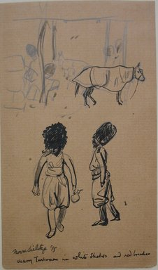 Boardman Robinson (American, 1876-1952). Leaves From a Serbian Sketchbook: Sketch of Soldiers and Horses, 1915. Pen and black ink over graphite on paper, Sheet: 6 5/16 x 3 3/4 in. (16 x 9.5 cm). Brooklyn Museum, Gift of Robert de Vries, 62.20.4