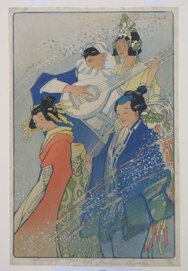 Bertha Lum (American, 1879-1954). Costume Ball (or Confetti), 1924. Woodcut in color on wove paper, Sheet: 15 7/16 x 10 1/8 in. (39.2 x 25.7 cm). Brooklyn Museum, Gift of the Achenbach Foundation for Graphic Arts, 63.108.5. © Estate of Bertha Lum