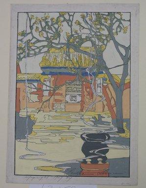 Bertha Lum (American, 1879-1954). Chufu, 1927. Raised line (lacquer?) print in color on Japan laid down paper, Sheet: 14 x 10 in. (35.6 x 25.4 cm). Brooklyn Museum, Dick S. Ramsay Fund, 63.159. © Estate of Bertha Lum