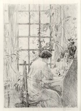 Frederick Childe Hassam (American, 1859-1935). The Writing Desk, 1915. Etching, 9 7/8 x 6 7/8 in.  (25.1 x 17.5 cm). Brooklyn Museum, Gift of Joseph S. Gotlieb, 63.234.2