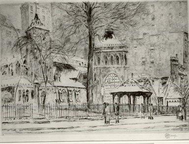 Frederick Childe Hassam (American, 1859-1935). The Little Church Around the Corner, 1923. Etching Brooklyn Museum, Gift of Joseph S. Gotlieb, 63.234.3