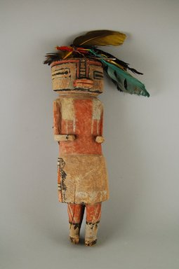 Hopi Pueblo (Native American). Kachina Doll, 1801-1900. Wood, pigment, feather, 34 x 12 cm. Brooklyn Museum, Gift of Annette Freund, 63.53.7. Creative Commons-BY