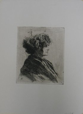 Joseph Stella (American, born Italy, 1877-1946). Untitled (Bust of a Woman in Profile), n.d. Etching on paper, Sheet: 13 1/16 x 9 5/8 in. (33.2 x 24.4 cm). Brooklyn Museum, Gift of Bernard Rabin in memory of Nathan Krueger, 63.59.5