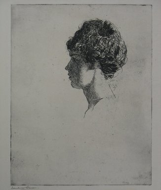 Frank Weston Benson (American, 1862-1951). Profile Head, 1914. Etching on laid paper, Sheet: 12 11/16 x 10 1/8 in. (32.2 x 25.7 cm). Brooklyn Museum, Gift of The Louis E. Stern Foundation, Inc., 64.101.18