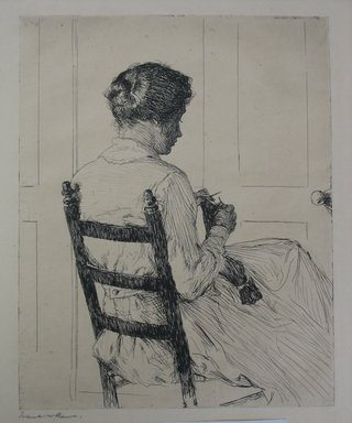 Frank Weston Benson (American, 1862-1951). Elizabeth, 1918. Etching on cream-colored wove paper, Sheet: 13 15/16 x 11 in. (35.4 x 27.9 cm). Brooklyn Museum, Gift of The Louis E. Stern Foundation, Inc., 64.101.19