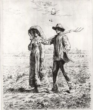 Jean-François Millet (French, 1814-1875). Le Départ Pour Le Travail, 1863. Etching on Japan paper, 15 3/16 x 12 3/16 in. (38.5 x 31 cm). Brooklyn Museum, Gift of The Louis E. Stern Foundation, Inc., 64.101.281