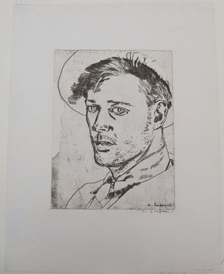 Maxwell Simpson (American, born 1896). Self Portrait, 1921. Etching on white wove paper, Mat: 14 5/16 x 19 5/16 in. (36.4 x 49 cm). Brooklyn Museum, Gift of The Louis E. Stern Foundation, Inc., 64.101.319