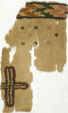 Coptic. Fragment of Plainweave with Decorative Border. Flax, Wool, 6 1/4 x 10 in. (15.9 x 25.4 cm). Brooklyn Museum, Gift of Adelaide Goan, 64.114.266