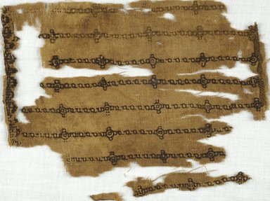 Coptic. Fragment of Plainweave with Embroidered Design, 5th-7th century C.E. Flax, Wool, 5 1/2 x 7 7/8 in. (14 x 20 cm). Brooklyn Museum, Gift of Adelaide Goan, 64.114.267
