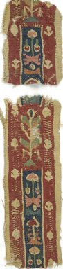Coptic. Two Pieces of Tapestry Strip, 5th-7th century C.E. Linen, wool, Combined measurements: 1 3/4 x 9 3/4 in. (4.4 x 24.8 cm). Brooklyn Museum, Gift of Adelaide Goan, 64.114.271a-b