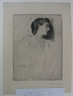 Julian Alden Weir (American, 1852-1919). Study of a Woman's Head in Profile, 1890. Drypoint on wove paper, Sheet: 11 3/16 x 8 3/8 in. (28.4 x 21.3 cm). Brooklyn Museum, Gift of Joseph S. Gotlieb, 64.166.1