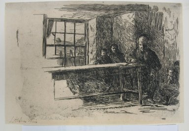 Julian Alden Weir (American, 1852-1919). Fisherman's Hut - Interior - Isle of Man, 1889. Etching on laid paper, 4 7/8 x 7 in. (12.4 x 17.8 cm). Brooklyn Museum, Gift of Joseph S. Gotlieb, 64.166.2