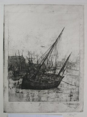 Julian Alden Weir (American, 1852-1919). Boats at Peel - Isle of Man, 1889. Etching on laid paper, Sheet: 15 9/16 x 10 1/4 in. (39.5 x 26 cm). Brooklyn Museum, Gift of Joseph S. Gotlieb, 64.166.3