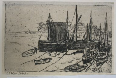 Julian Alden Weir (American, 1852-1919). Boats at Port Erin - Isle of Man, 20th century. Etching on laid paper, Sheet: 3 15/16 x 5 15/16 in. (10 x 15.1 cm). Brooklyn Museum, Gift of Joseph S. Gotlieb, 64.166.4