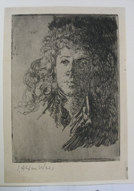 Julian Alden Weir (American, 1852-1919). Portrait of a Girl, 20th century. Etching on wove paper, Sheet: 6 3/8 x 4 7/16 in. (16.2 x 11.3 cm). Brooklyn Museum, Gift of Joseph S. Gotlieb, 64.166.6