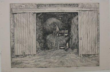 Frederick Childe Hassam (American, 1859-1935). The Haybarn, 1920. Etching Brooklyn Museum, Gift of Joseph S. Gotlieb, 64.166.9