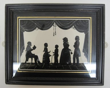 August Edouart (copy of) (French, 1789-1861). Silhouette of Family Group (5 Figures), ca. late 19th century. Paint on glass, framed size: 8 3/4 x 10 3/4 in. (22.2 x 27.3 cm). Brooklyn Museum, Gift of the Estate of Emily Winthrop Miles, 64.195.101