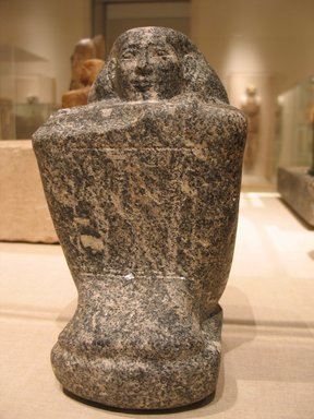 Egyptian. Temple Block Statue of a Man Connected to the Estate of a God's Wife of Amun, ca. 775-653 B.C.E. Diorite, 9 3/16 x 5 5/16 x 6 5/16 in. (23.4 x 13.5 x 16 cm). Brooklyn Museum, Charles Edwin Wilbour Fund, 64.200.1. Creative Commons-BY