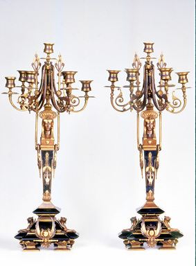 Candelabra, ca. 1870. Bronze, black marble, 26 1/2 x 11 1/2 x 11 3/4 in.  (67.3 x 29.2 x 29.8 cm). Brooklyn Museum, Anonymous gift, 64.241.106. Creative Commons-BY