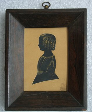 Silhouette of a Boy (Walter), ca. 1840. Painted paper cutout with gold accents mounted to wove paperboard in rosewood frame, Image (sight): 3 5/8 x 2 1/2 in. (9.2 x 6.4 cm). Brooklyn Museum, Gift of the Estate of Emily Winthrop Miles, 64.82.415
