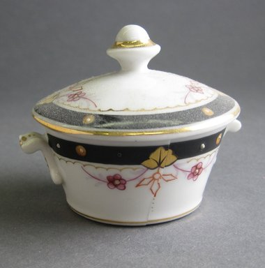 Child's Covered Bowl and Cover, ca. 1880. Porcelain, 2 1/2 x 2 1/4 in. (6.4 x 5.7 cm). Brooklyn Museum, Gift of Amelia Beard Hollenback, 66.25.9a-b. Creative Commons-BY