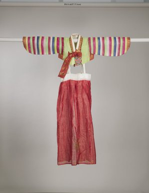 Child's Jacket (Saekdong Jeogori) and Skirt, ca. 1960. Silk, gauze, Jacket: 10 1/2 x 13 3/4 in. (26.7 x 35 cm), sleeve length: 21 1/16 in. (53.5 cm). Brooklyn Museum, Gift of Mrs. Jesse Orrick, 66.57.5a-b. Creative Commons-BY