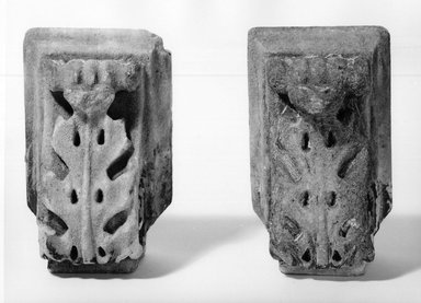 Joseph F. Mangin (French). Pair of Corbels from City Hall, Manhattan, ca. 1811. Marble, 8 x 5 x 4 1/2 in. (20.3 x 12.7 x 11.4 cm). Brooklyn Museum, Gift of William B. Schlefer, 66.82.1-.2. Creative Commons-BY