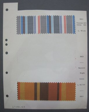 Fab-Tex Inc.. Fabric Swatch, 1963-1966. Cotton and synthetic, sheet: 8 1/4 x 10 1/2 in. (21 x 26.7 cm). Brooklyn Museum, Gift of Fab-Tex Inc., 67.158.183
