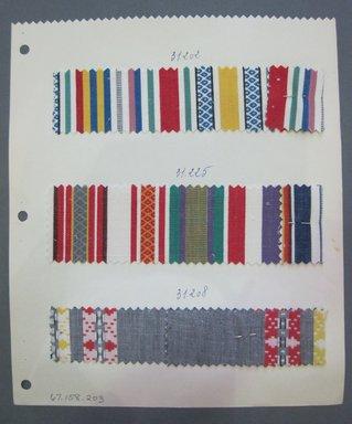 Fab-Tex Inc.. Fabric Swatch, 1963-1966. Silk, sheet: 8 1/4 x 9 1/2 in. (21 x 24.1 cm). Brooklyn Museum, Gift of Fab-Tex Inc., 67.158.203