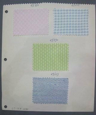 Fab-Tex Inc.. Fabric Swatch, 1963-1966. Cotton, sheet: 8 1/4 x 9 1/2 in. (21 x 24.1 cm). Brooklyn Museum, Gift of Fab-Tex Inc., 67.158.230