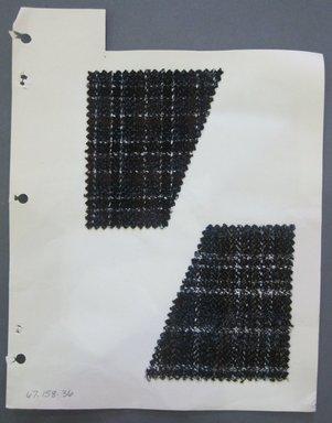 Fab-Tex Inc.. Fabric Swatch, 1963-1966. Wool, sheet: 8 1/4 x 10 1/2 in. (21 x 26.7 cm). Brooklyn Museum, Gift of Fab-Tex Inc., 67.158.36