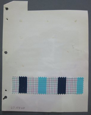 Fab-Tex Inc.. Fabric Swatch, 1963-1966. Cotton, sheet: 8 1/4 x 10 1/2 in. (21 x 26.7 cm). Brooklyn Museum, Gift of Fab-Tex Inc., 67.158.68