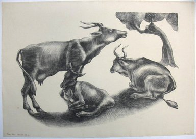 George Biddle (American, 1885-1973). Three Cows, 1932. Lithograph, 11 1/4 x 16 in. (28.6 x 40.6 cm). Brooklyn Museum, Gift of George Biddle, 67.185.24. © Estate of George Biddle
