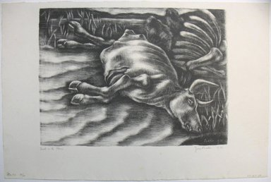 George Biddle (American, 1885-1973). Death on the Plains, 1936. Lithograph, 10 x 13 3/4 in. (25.4 x 34.9 cm). Brooklyn Museum, Gift of George Biddle, 67.185.28. © Estate of George Biddle