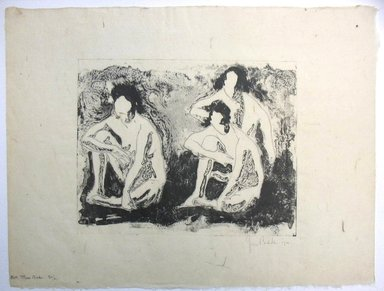 George Biddle (American, 1885-1973). Nude Figures Seated, or Three Nudes, 1921. Lithograph, 8 1/4 x 10 3/8 in. (21 x 26.4 cm). Brooklyn Museum, Gift of George Biddle, 67.185.4. © Estate of George Biddle