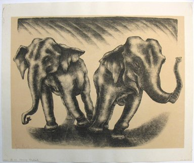 George Biddle (American, 1885-1973). Dancing Elephants, 1952. Lithograph, 13 7/8 x 18 1/8 in. (35.2 x 46 cm). Brooklyn Museum, Gift of George Biddle, 67.185.41. © Estate of George Biddle