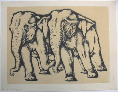George Biddle (American, 1885-1973). Two Elephants, 1951. Lithograph, 12 7/8 x 17 1/8 in. (32.7 x 43.5 cm). Brooklyn Museum, Gift of George Biddle, 67.185.43. © Estate of George Biddle